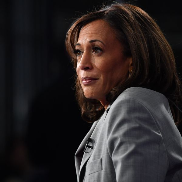 California Senator Kamala Harris speaks to the press in the Spin Room after participating in the fifth Democratic primary debate of the 2020 presidential campaign season co-hosted by MSNBC and The Washington Post at Tyler Perry Studios in Atlanta, Georgia on Nov. 20, 2019. (Credit: Nicholas Kamm/AFP via Getty Images)