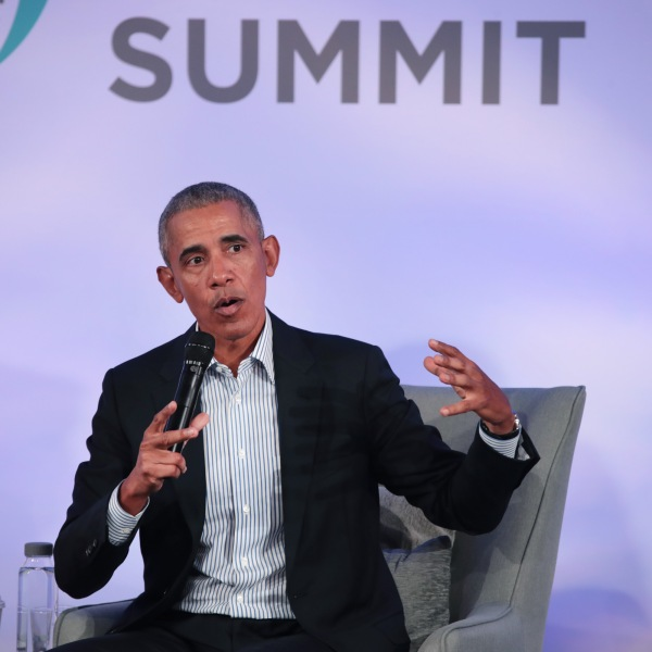 Former President Barack Obama speaks to guests at the Obama Foundation Summit on the campus of the Illinois Institute of Technology in Chicago on Oct. 29, 2019. (Credit: Scott Olson/Getty Images)