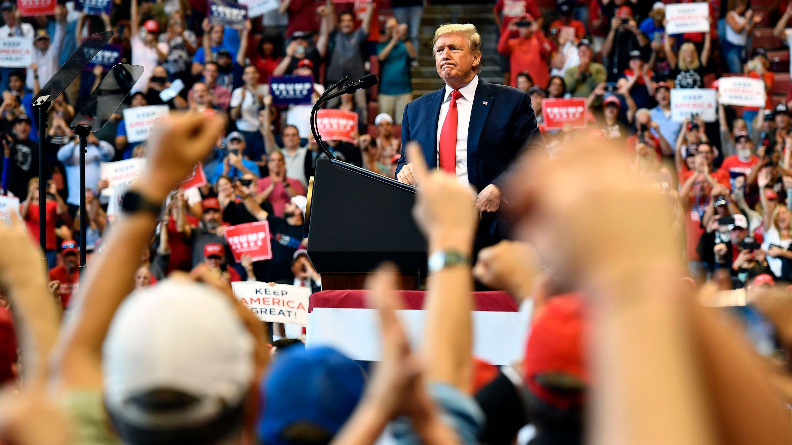 "Donald Trump gestures as he speaks during a ""Keep America Great"" campaign rally in Sunrise, Florida on Nov. 26, 2019. (Credit: Mandel Ngan/AFP via Getty Images)"