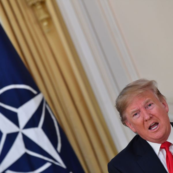 Donald Trump speaks during his meeting with NATO Secretary General Jens Stoltenberg at Winfield House, London on Dec. 3, 2019. (Credit: NICHOLAS KAMM/AFP via Getty Images)