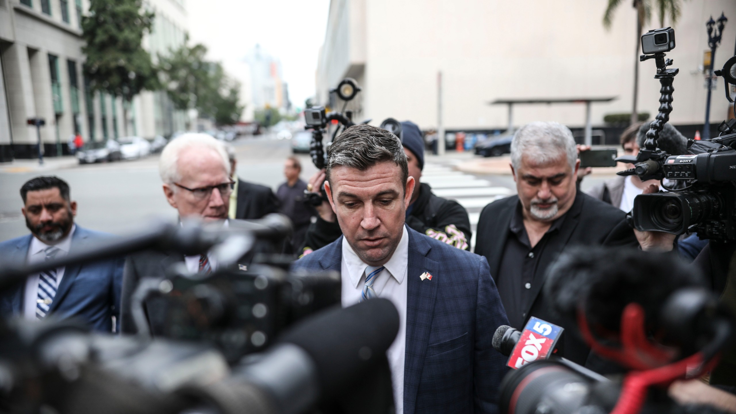 Rep. Duncan Hunter (R-CA) walks into a federal courthouse on Dec. 3, 2019, in San Diego. (Credit: Sandy Huffaker/Getty Images)