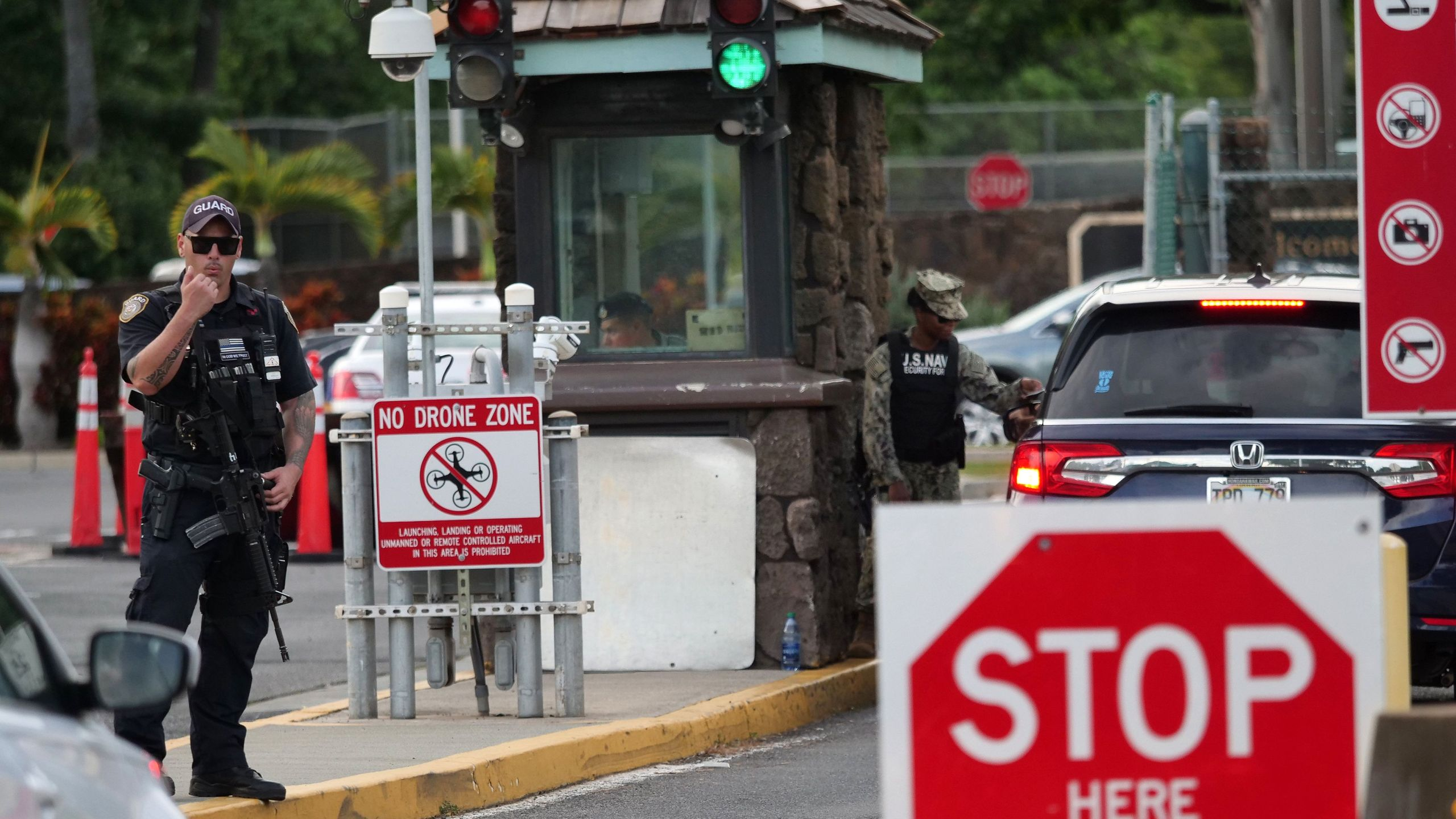 The Nimitz Gate at Pearl Harbor in Hawaii is seen shortly after a sailor opened fire at the Pearl Harbor Naval Shipyard in Honolulu, Hawaii on Dec. 4, 2019. (Credit: RONEN ZILBERMAN/AFP via Getty Images)