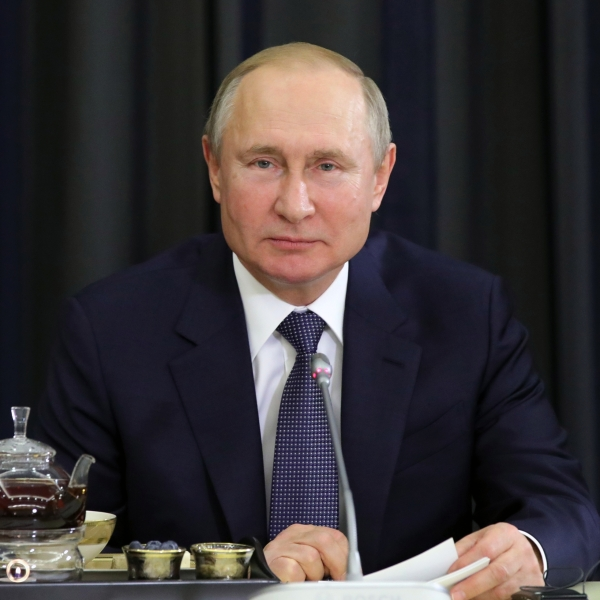 Russian President Vladimir Putin meets with German businessmen in Sochi on Dec. 6, 2019. (Credit: MIKHAIL KLIMENTYEV/SPUTNIK/AFP via Getty Images)