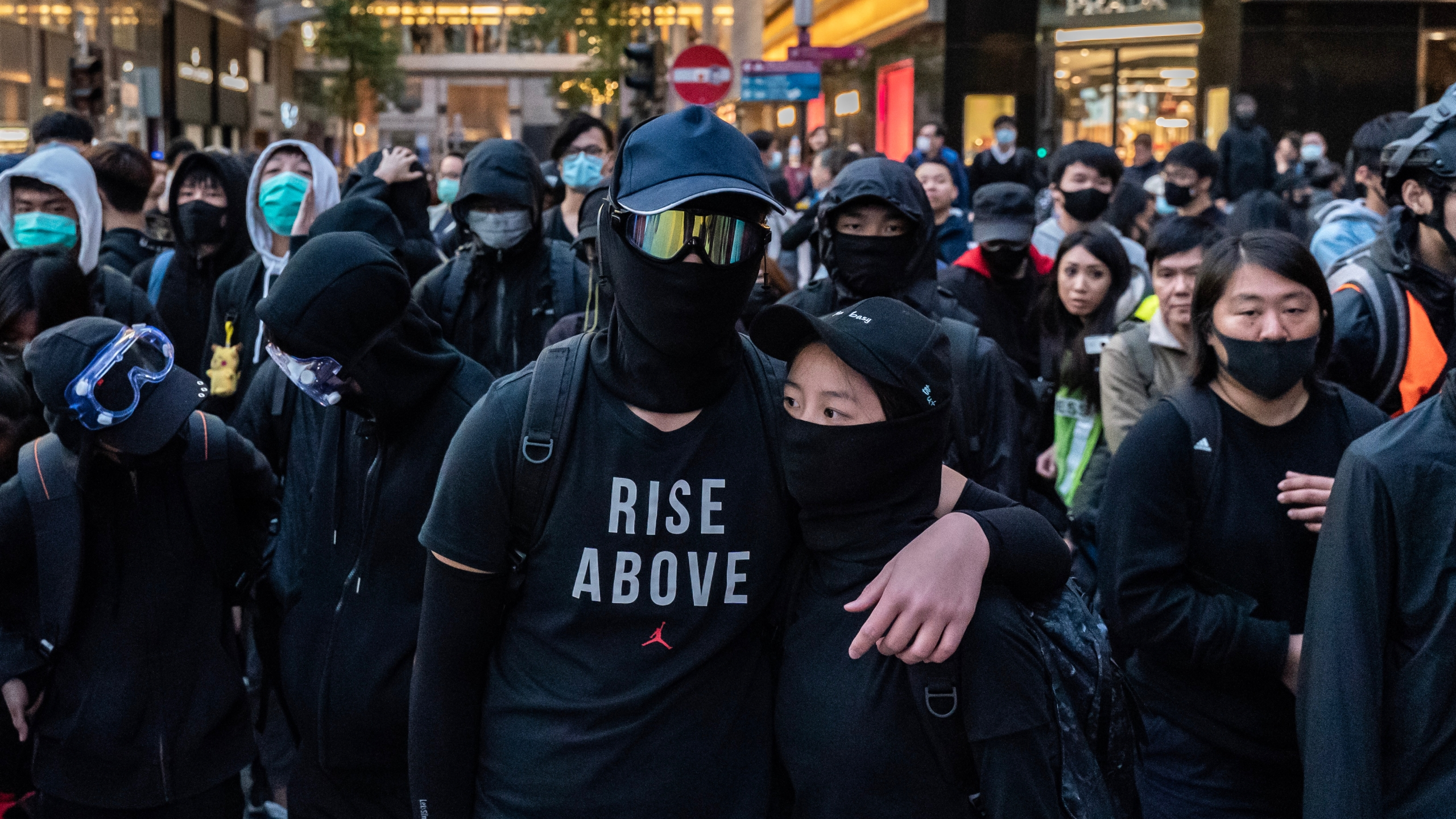 Protesters form a frontline during a standoff with police at a demonstration on Dec. 8, 2019, in Hong Kong, China. (Credit: Anthony Kwan/Getty Images)