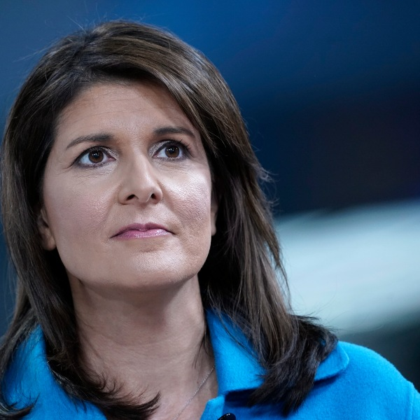 "Former UN Ambassador Nikki Haley visits ""Fox & Friends"" at Fox News Channel Studios on Nov. 12, 2019 in New York City. (Credit: John Lamparski/Getty Images)"