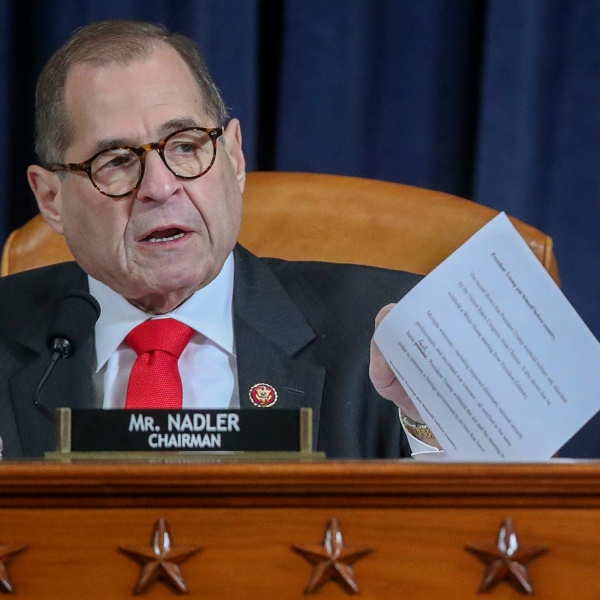 Chair Rep. Jerry Nadler (D-NY) arrives for testimony before the House Judiciary Committee in the Longworth House Office Building on Capitol Hill December 9, 2019 in Washington, DC. (Credit: onathan Ernst-Pool/Getty Images)