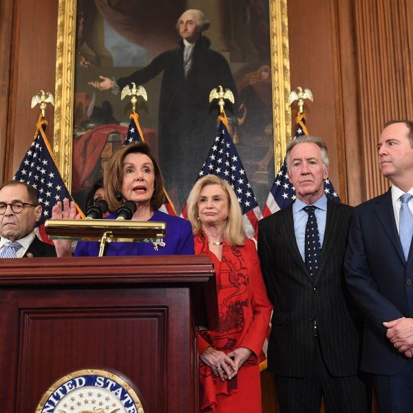 House Speaker Nancy Pelosi, center, flanked by Rep. Jerry Nadler (D-NY) and Rep. Adam Schiff (D-CA), holds a press conference at the U.S. Capitol in Washington, D.C. on Dec. 10, 2019. (Credit: SAUL LOEB/AFP via Getty Images)