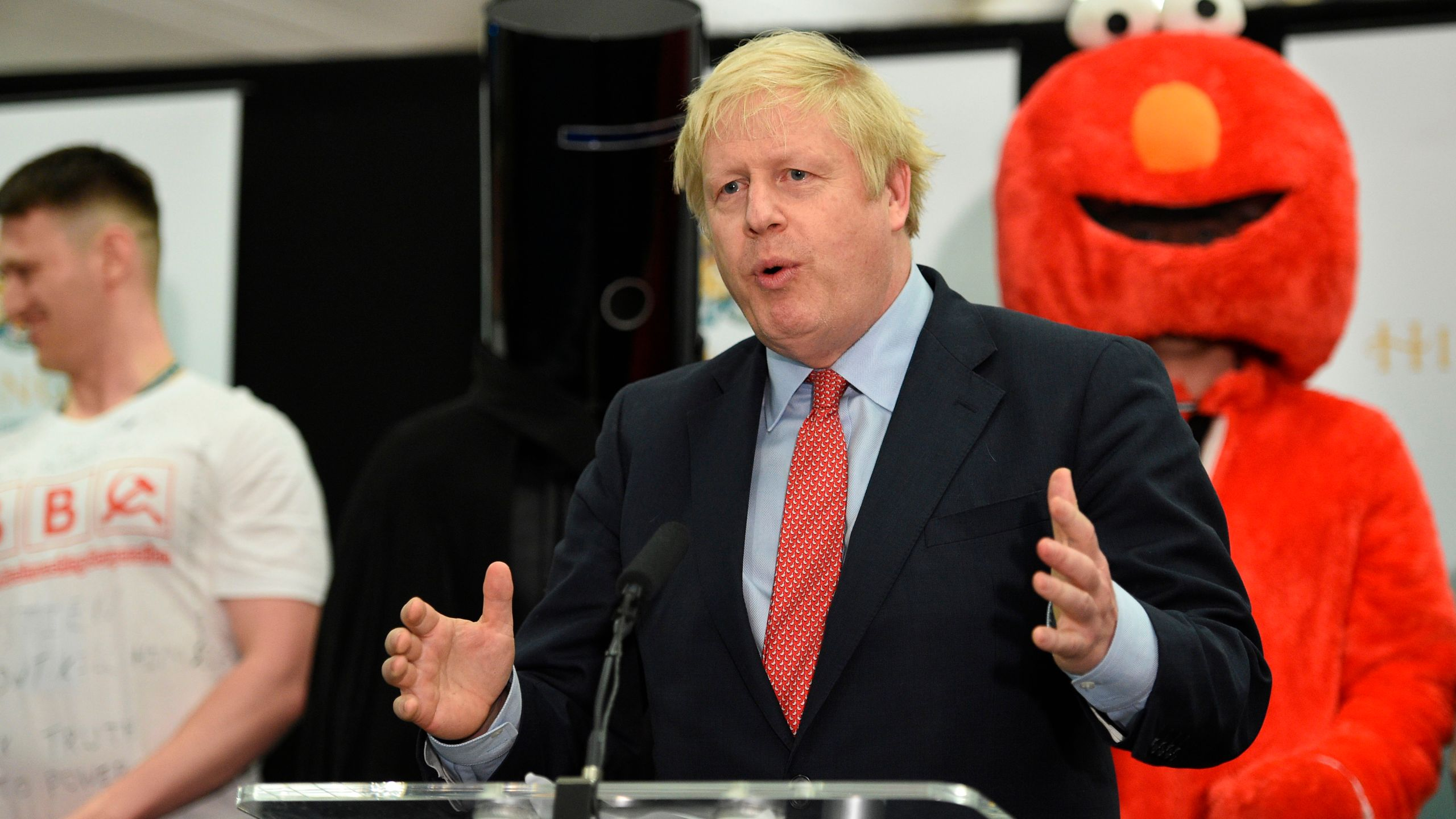 Britain's Prime Minister and Conservative Party leader Boris Johnson gives a speech on stage after retaining his seat in west London on Dec. 13, 2019. (Credit: Oli Scarff / AFP / Getty Images)
