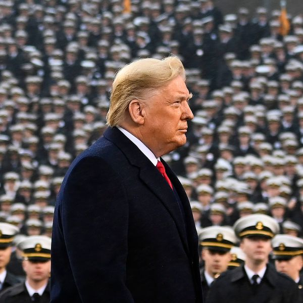 US President Donald Trump attends the Army-Navy football game in Philadelphia, Pennsylvania on December 14, 2019. (Credit: ANDREW CABALLERO-REYNOLDS/AFP via Getty Images)