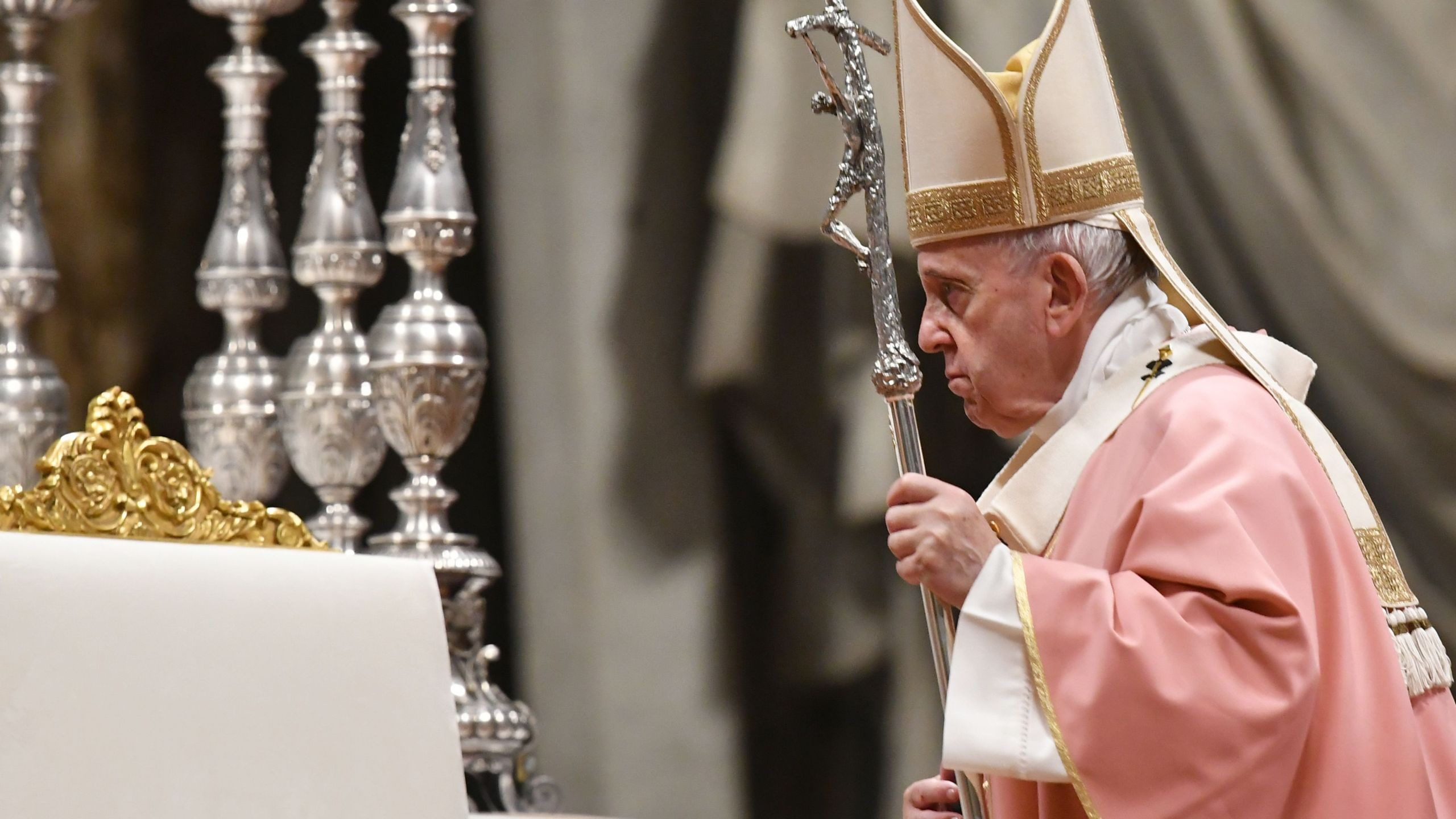 Pope Francis celebrates Mass for the Filipino community on December 15, 2019 at St. Peter's Basilica in the Vatican. (Credit: TIZIANA FABI/AFP via Getty Images)