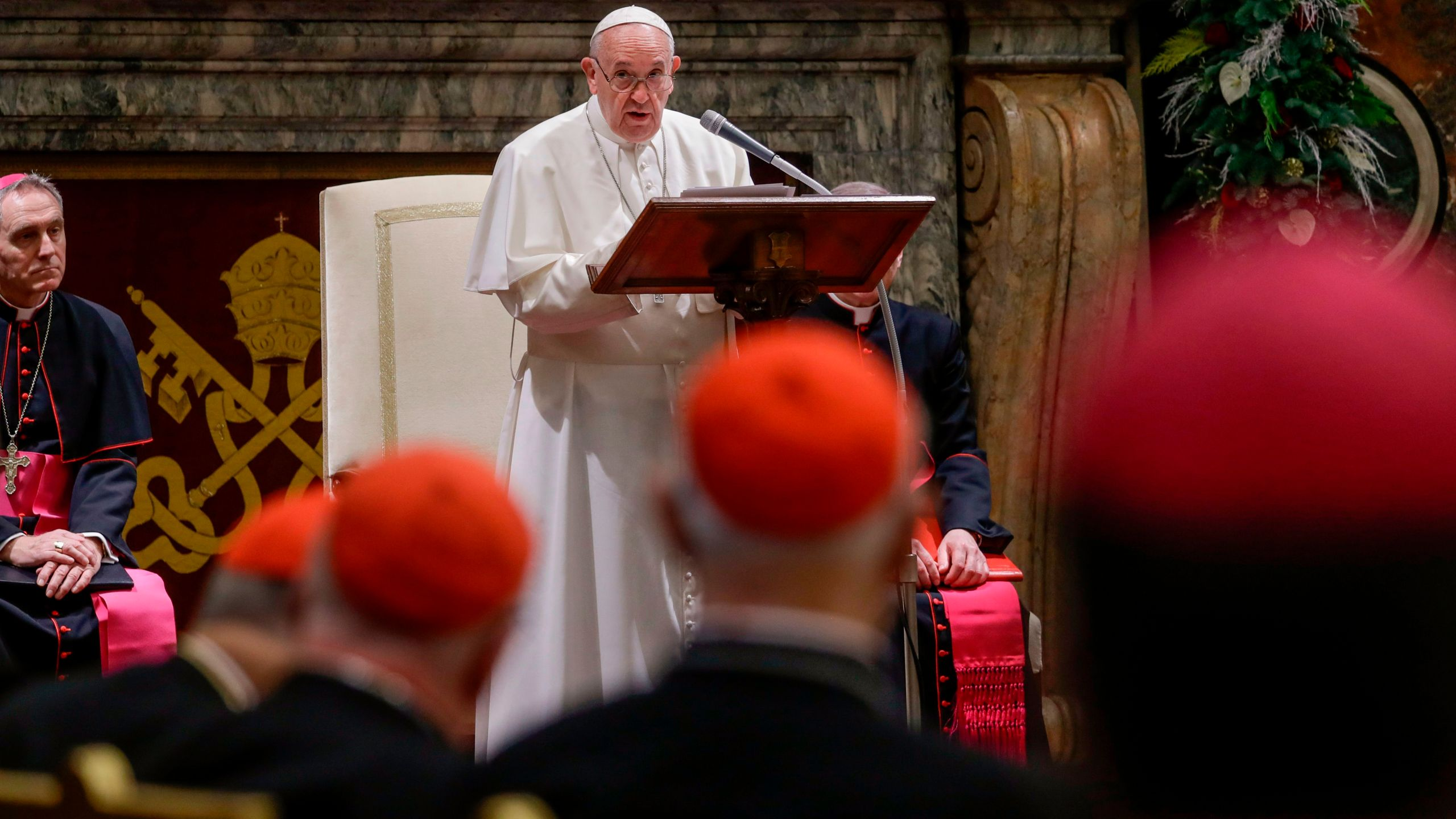 Pope Francis delivers a speech during a ceremony of Christmas greetings to the Roman Curia, in the Clementine Hall at the Vatican on Dec. 21, 2019. (Credit: ANDREW MEDICHINI/POOL/AFP via Getty Images)