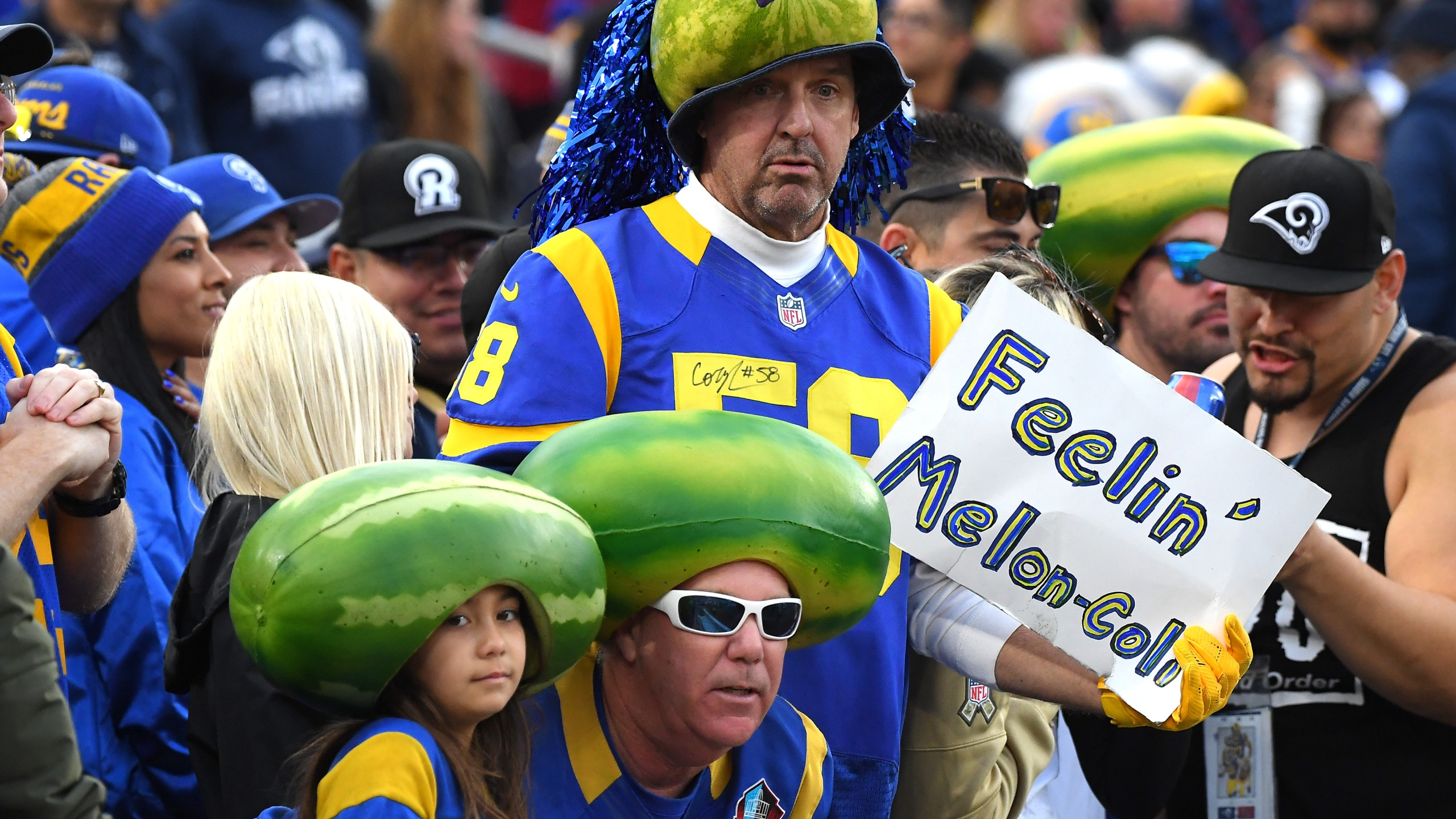 Los Angeles Rams fans attend the game against the Arizona Cardinals at the Memorial Coliseum on Dec. 29, 2019. (Credit: Jayne Kamin-Oncea / Getty Images)