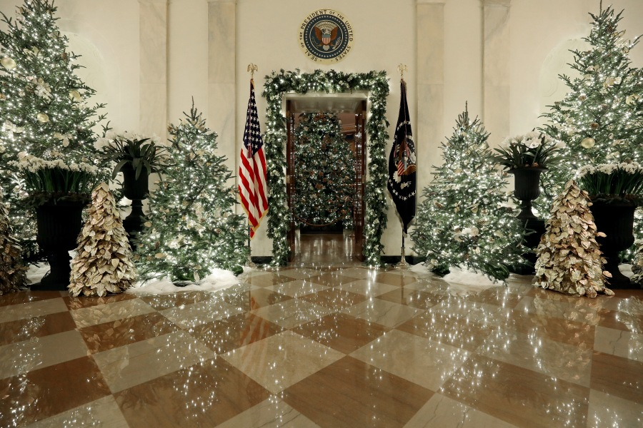 Christmas decorations are on display in the Grand Foyer at the White House on Dec. 2, 2019. (Credit: Mark Wilson/Getty Images)