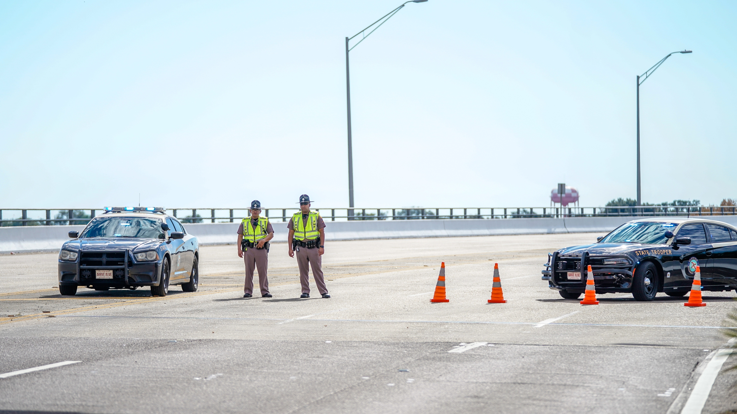 Florida State Troopers block traffic over the Bayou Grande Bridge leading to the Pensacola Naval Air Station following a shooting on Dec. 6, 2019 in Pensacola. (Credit: Josh Brasted/Getty Images)