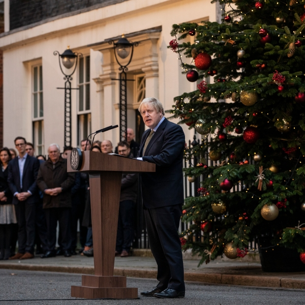 Prime Minister Boris Johnson makes a statement in Downing Street after receiving permission to form the next government during an audience with Queen Elizabeth II at Buckingham Palace earlier today, on Dec. 13, 2019, in London, England. (Credit: Dan Kitwood/Getty Images)