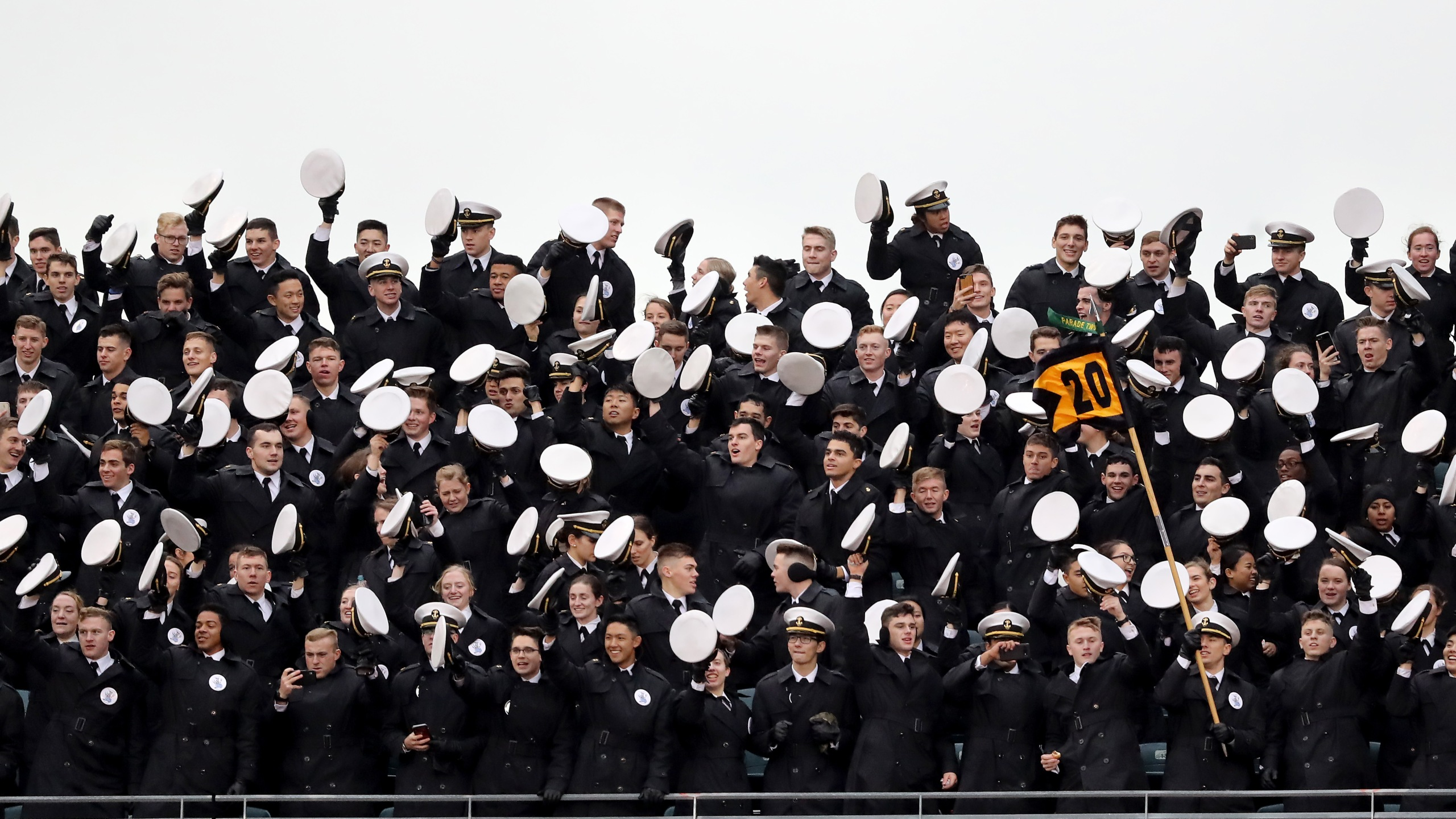 The Navy Midshipmen celebrate during the game against the Army Black Knights at Lincoln Financial Field on Dec. 14, 2019, in Philadelphia, Pennsylvania. (Credit: Elsa/Getty Images)