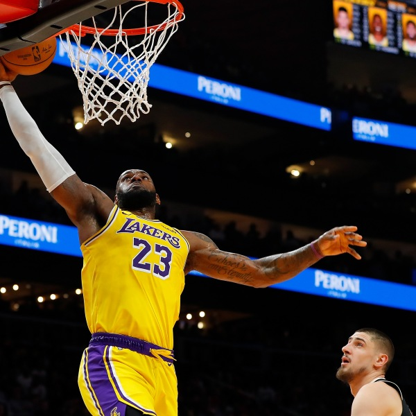 LeBron James of the Los Angeles Lakers dunks during a game against the Atlanta Hawks at State Farm Arena on Dec. 15, 2019 in Atlanta, Georgia. (Credit: Kevin C. Cox/Getty Images)