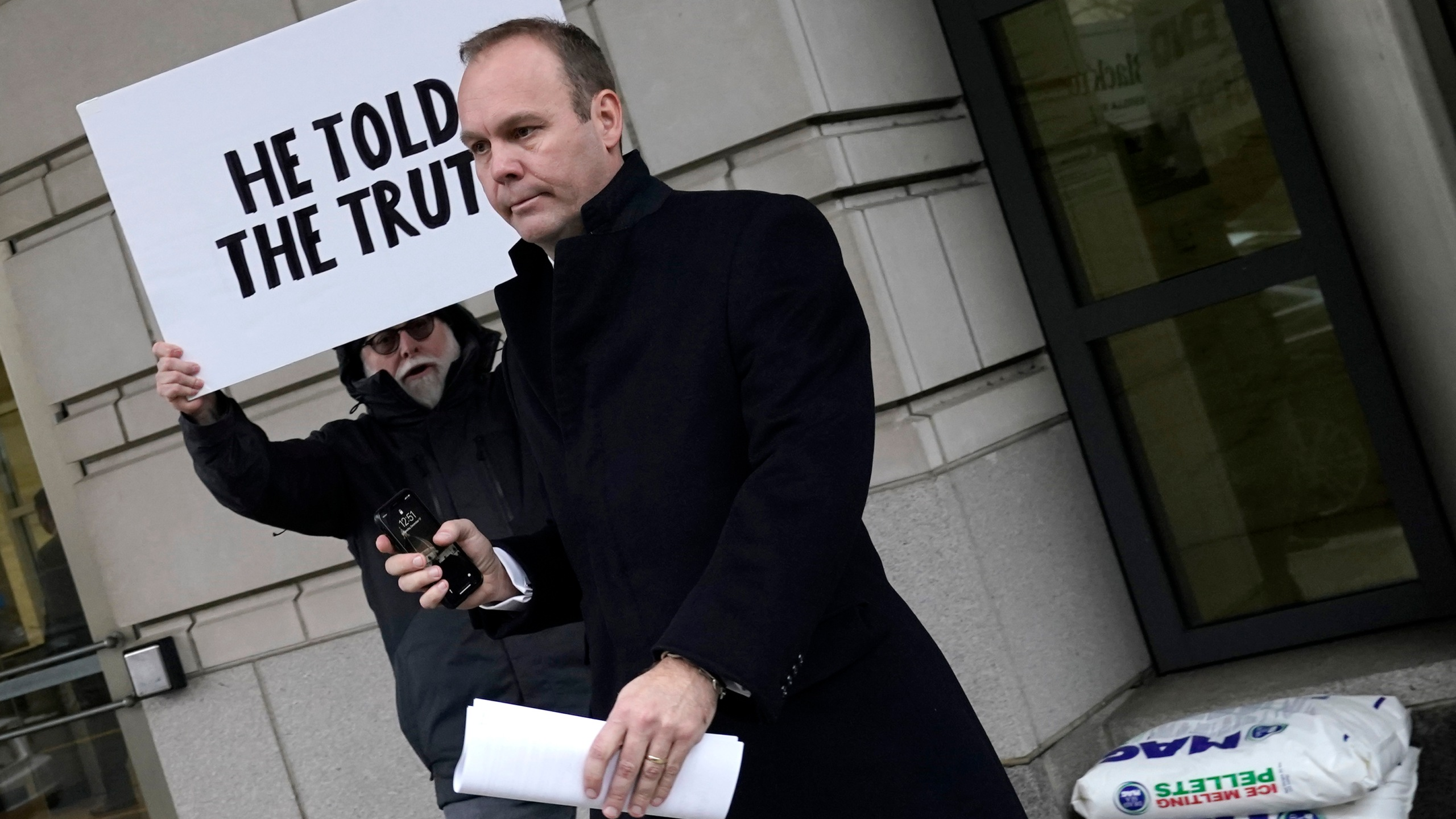 Former Trump campaign aide Rick Gates leaves federal court after sentencing on Dec. 17, 2019 in Washington, D.C. (Credit: Win McNamee/Getty Images)