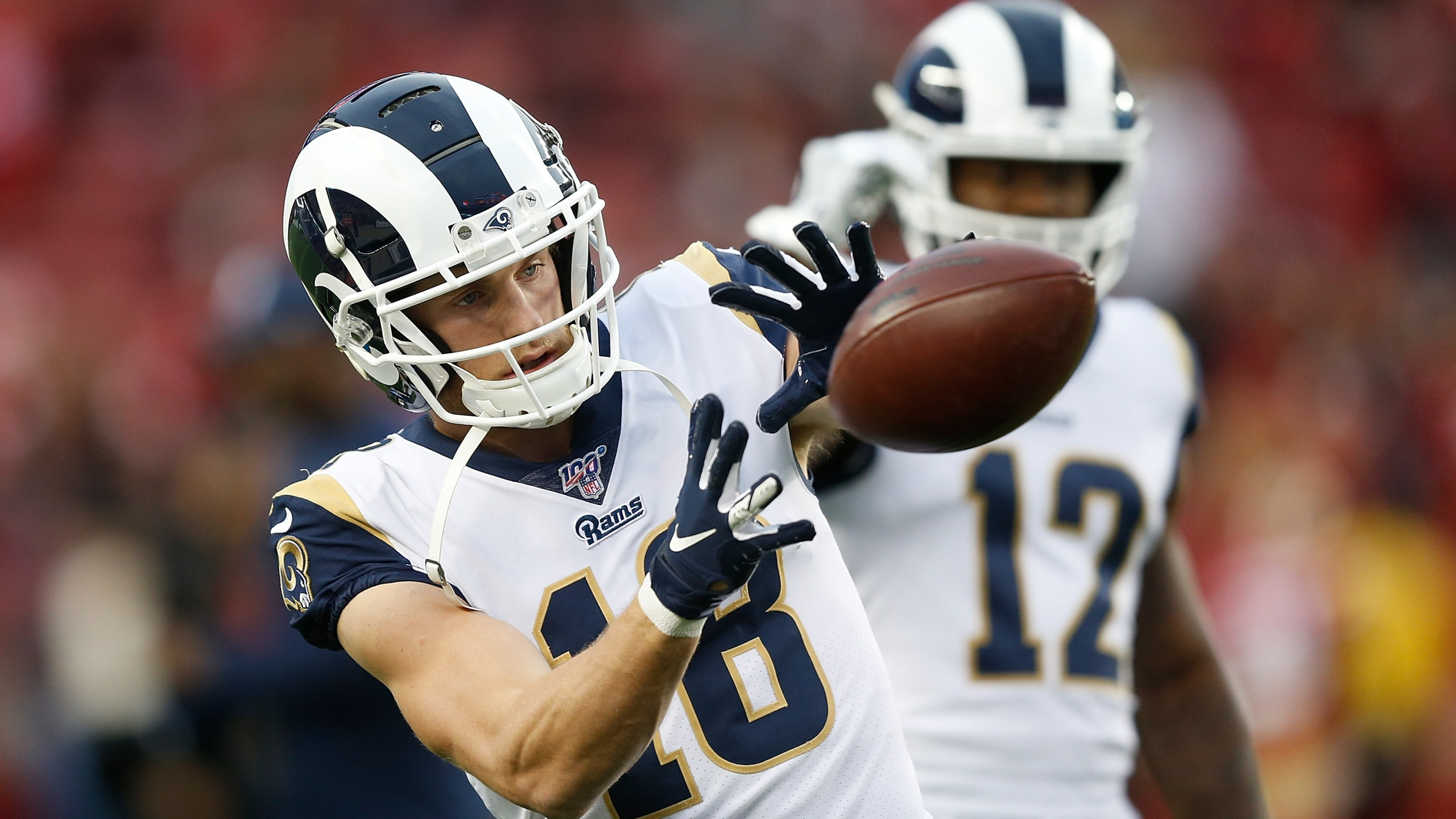 Cooper Kupp of the Los Angeles Rams warms up before the game against the San Francisco 49ers at Levi's Stadium on Dec. 21, 2019 in Santa Clara. (Credit: Lachlan Cunningham/Getty Images)