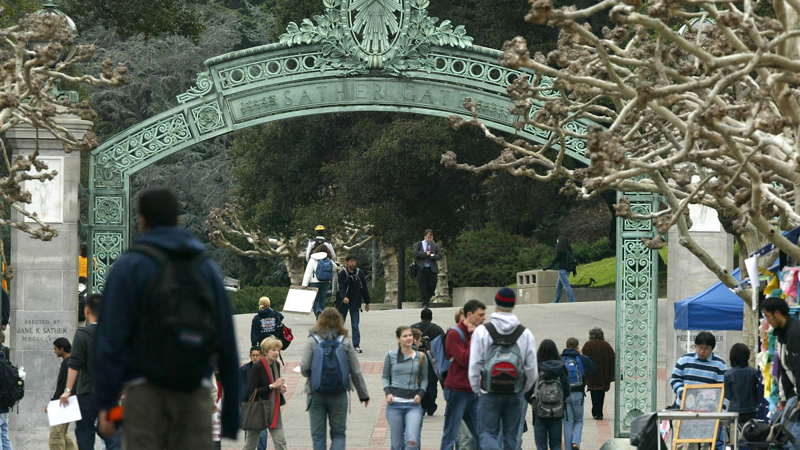 Students walk near Sather Gate on the University of California at Berkeley campus Feb. 24, 2005, in Berkeley. (Justin Sullivan/Getty Images)