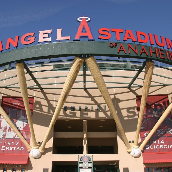 A general view of the exterior of Angel Stadium before the Round 2 Pool 2 Game between Team Japan and Team Korea in the World Baseball Classic on March 15, 2006, in Anaheim. (Credit: Christian Petersen/Getty Images)