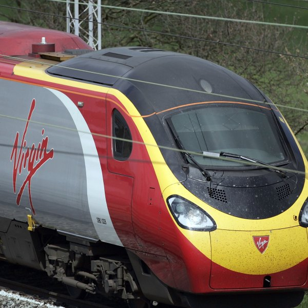 A Virgin train is seen leaving Crewe Station on April 28, 2006, Crewe, United Kingdom. (Credit: Christopher Furlong/Getty Images)