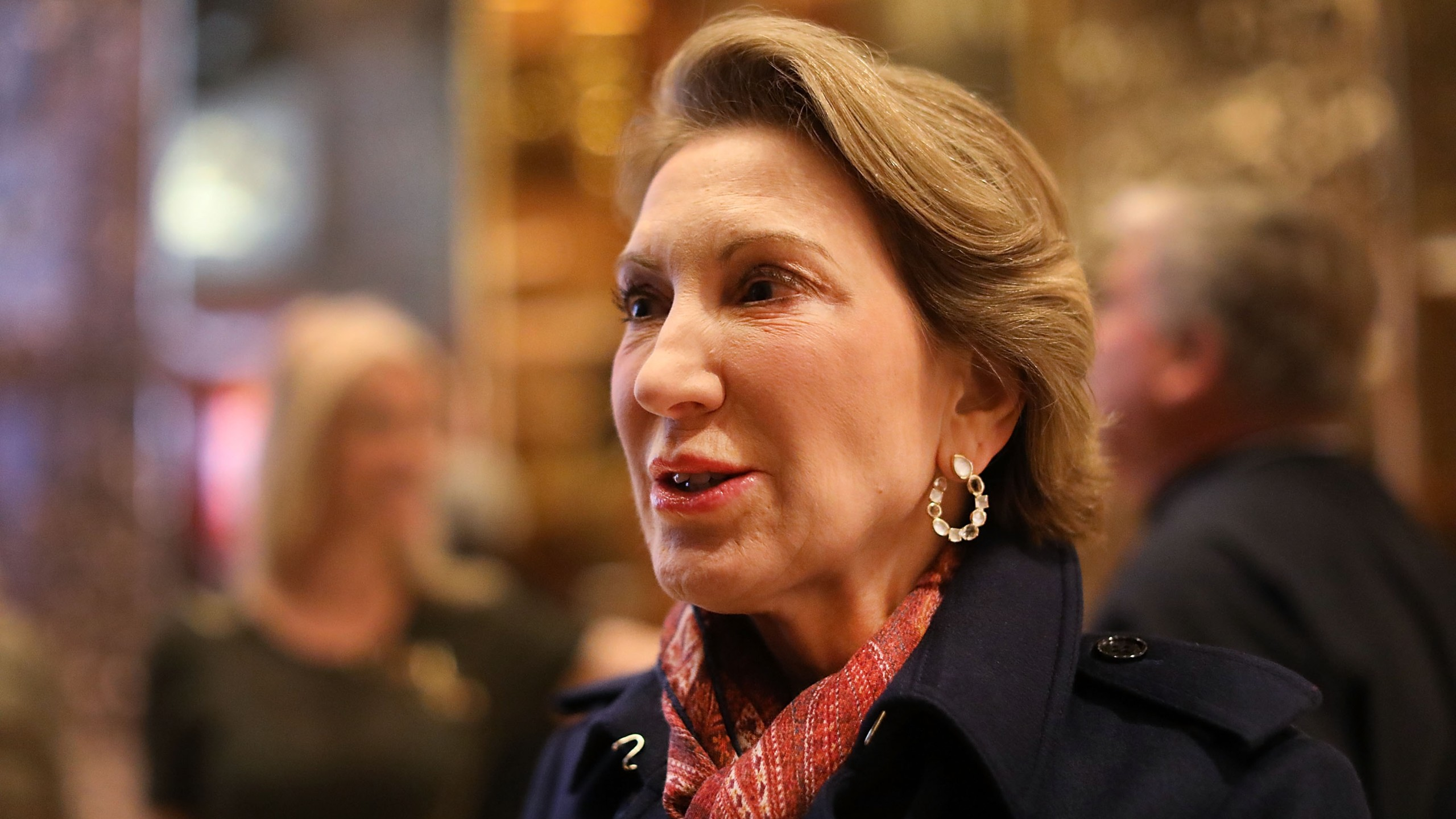 Carly Fiorina speaks to the media after a meeting at Trump Tower on Dec. 12, 2016 in New York City. (Credit: Spencer Platt/Getty Images)