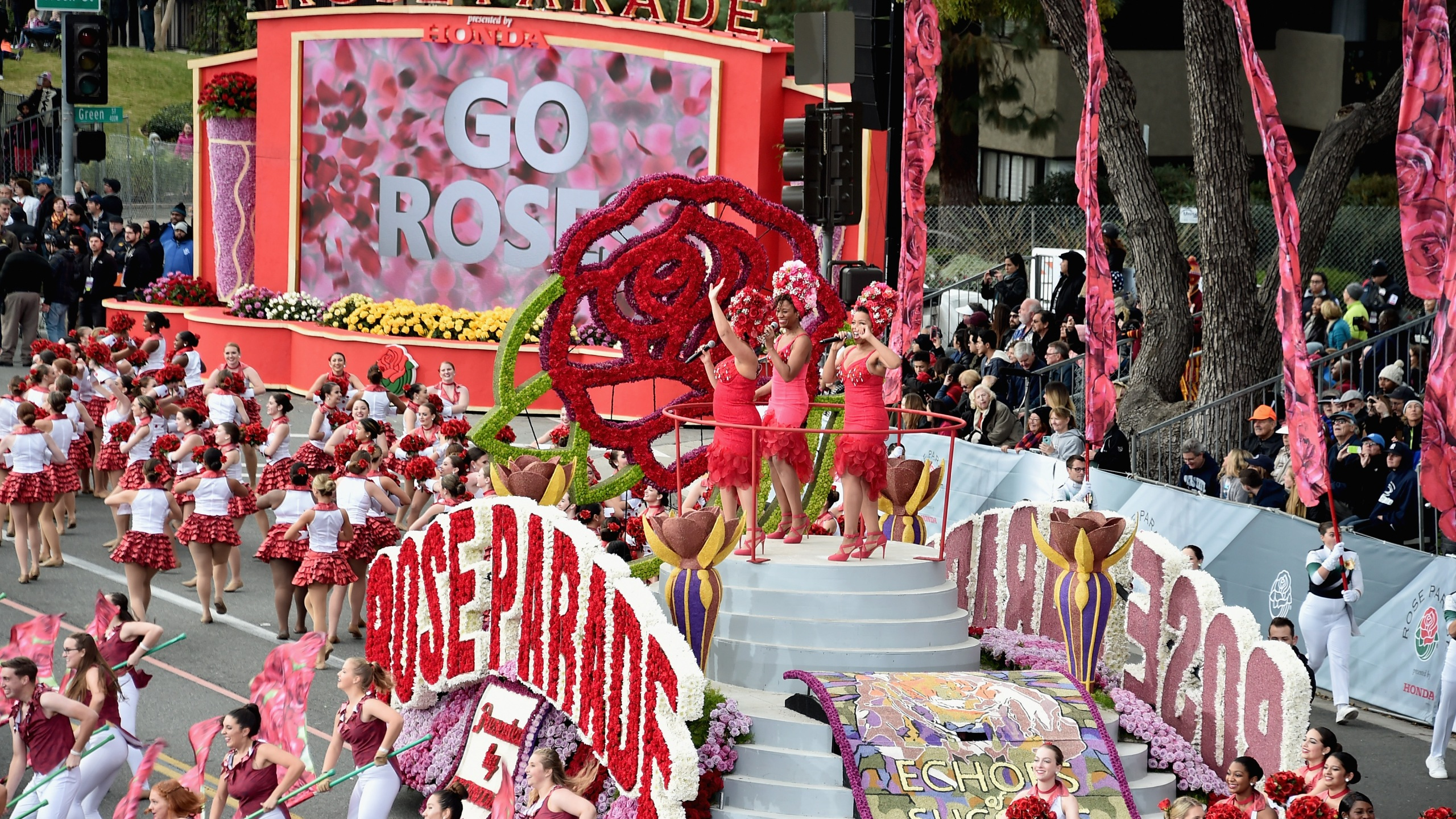 Performers open the 128th Tournament of Roses Parade Presented by Honda on Jan. 2, 2017, in Pasadena, California. (Credit: Alberto E. Rodriguez/Getty Images)