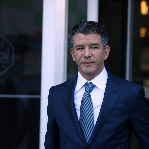 Former Uber CEO Travis Kalanick leaves the Phillip Burton Federal Building on day three of the trial between Waymo and Uber Technologies on Feb. 7, 2018 in San Francisco. (Credit: Justin Sullivan/Getty Images)