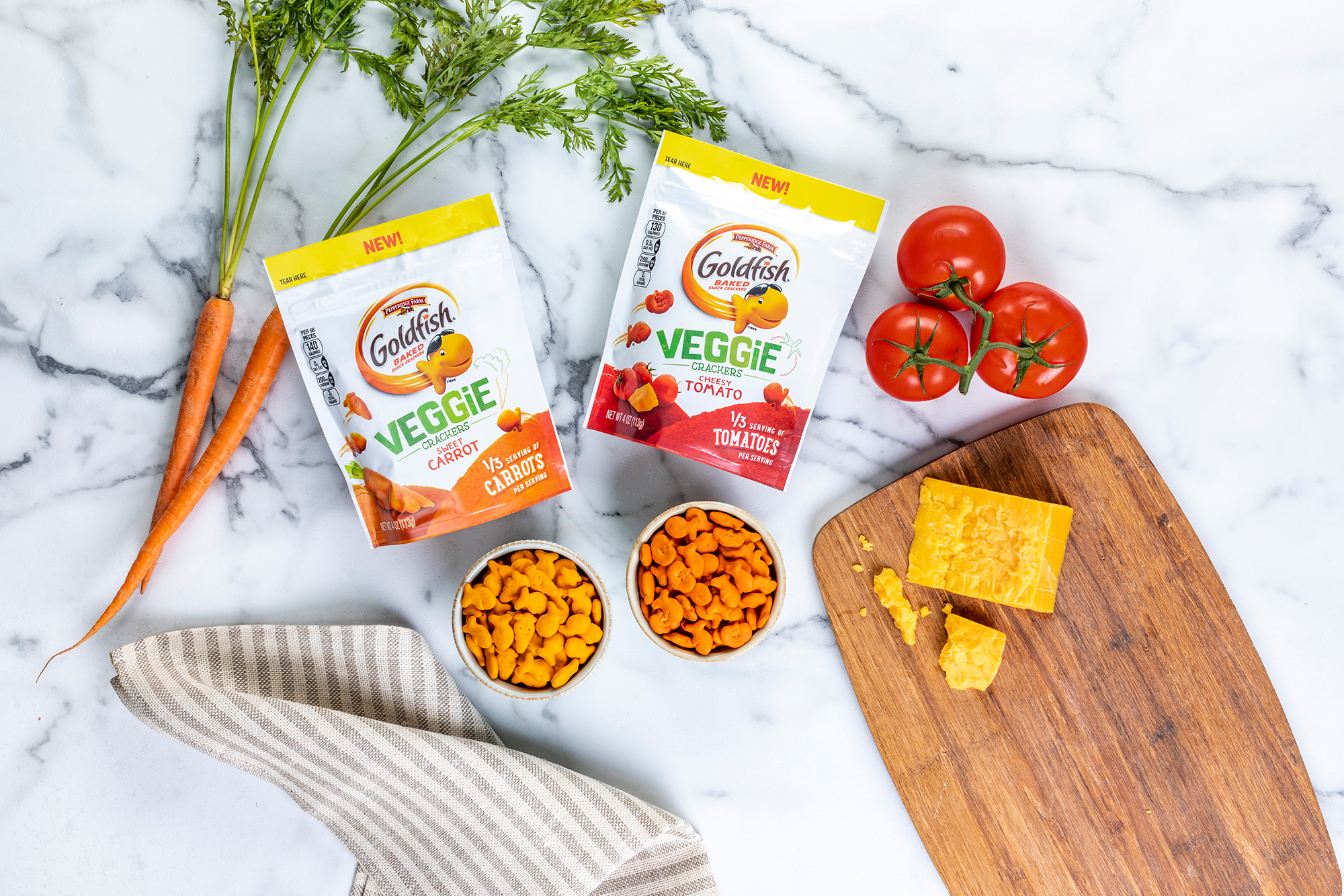 Veggie Goldfish crackers in sweet carrot and cheesy tomato flavor are seen in an image released by Campbell in December 2019.