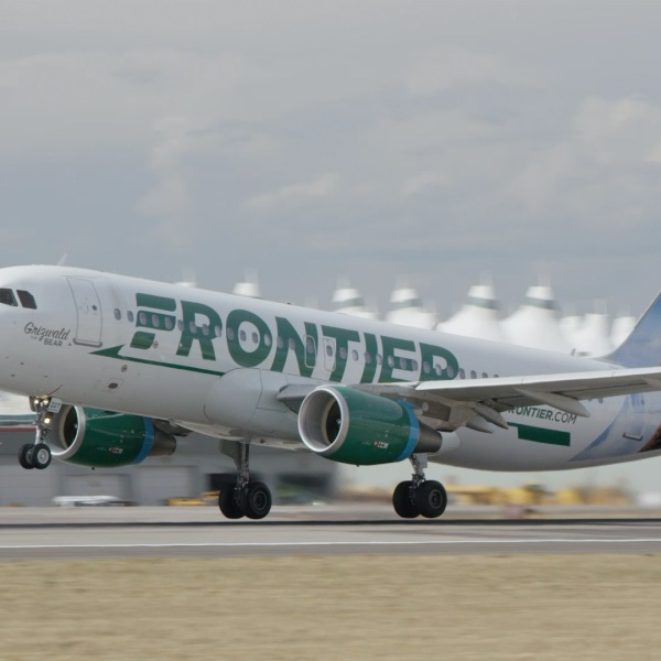 A Frontier Airlines plane is seen in an undated photo. (Credit: Frontier Airlines via CNN)