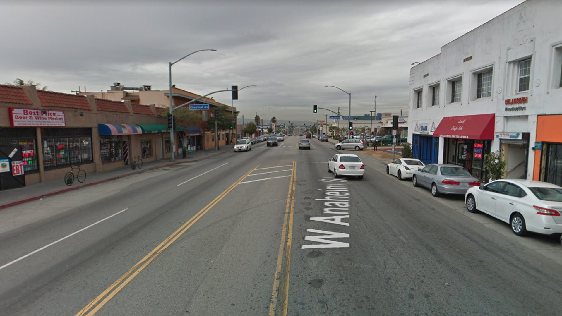 The 400 block of West Anaheim Street, as viewed in a Google Street View image.