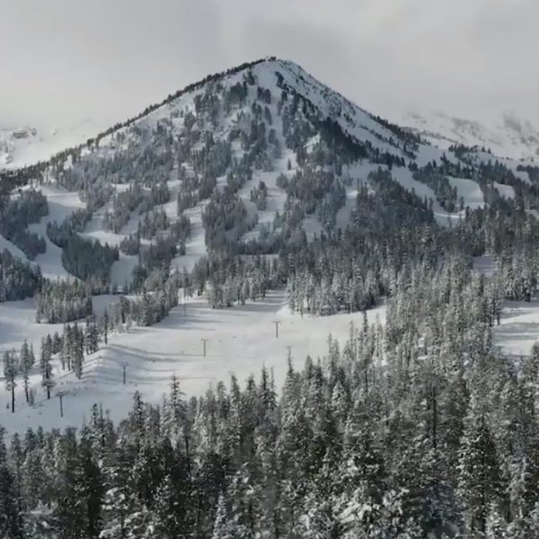 Drone video from Mammoth Mountain shows the resort covered in snow on Dec. 9, 2019.