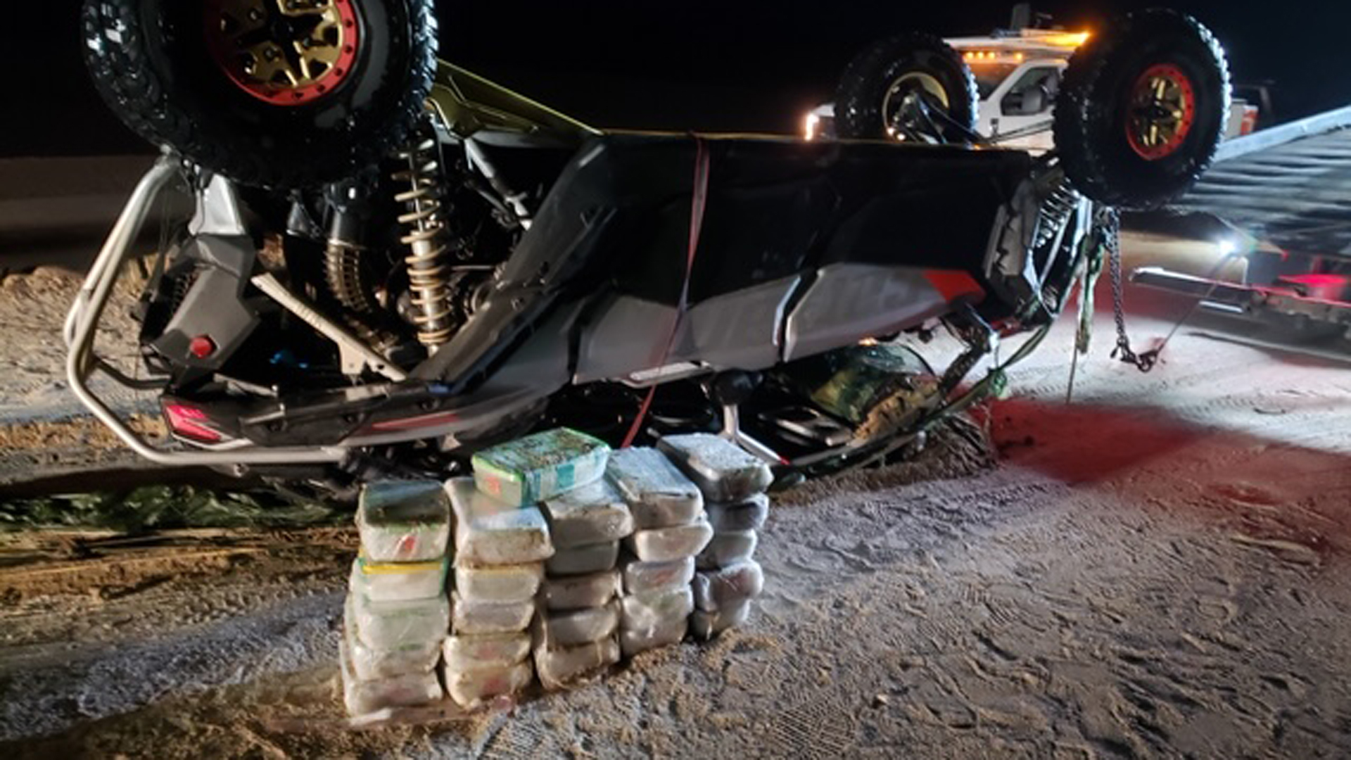 A photo of a damaged off-road vehicle used to retrieve methamphetamine near the Salton Sea is seen in a photo released by the U.S. Attorney's Office for the Central District of California on Dec. 16, 2019.