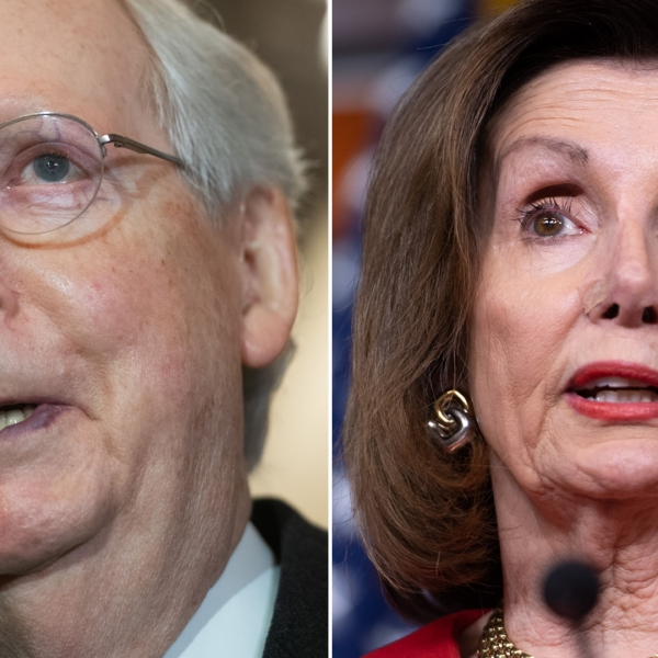 Senate Majority Leader Mitch McConnell, left, appears at a press conference on Capitol Hill on Dec. 17, 2019. At right, House Speaker Nancy Pelosi holds a media briefing in D.C. on Dec. 19, 2019. (Credit: Saul Loeb / AFP / Getty Images)