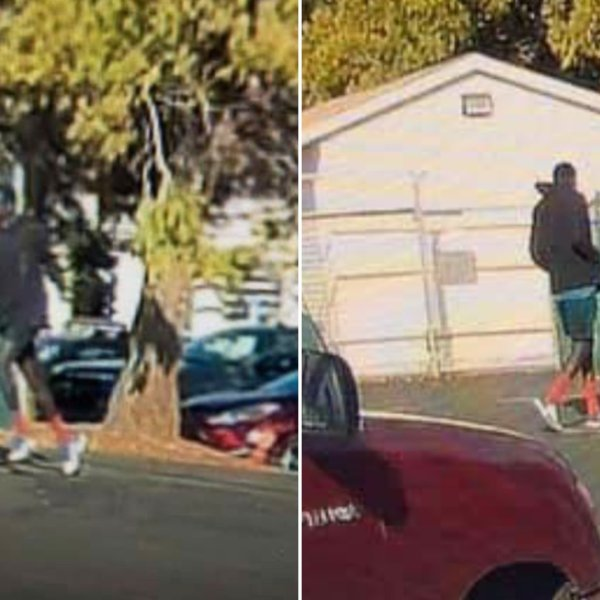 Auburn police released these two photos of a person of interest who was seen running from the area at the time of the attack in the library. (Credit: Auburn Police Department via KTXL)