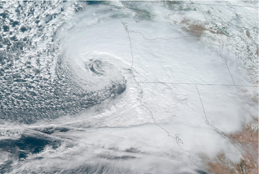 A satellite image shows a major storm off the Oregon coast on Nov. 26, 2019. (Credit: National Oceanic and Atmospheric Administration via Los Angeles Times)