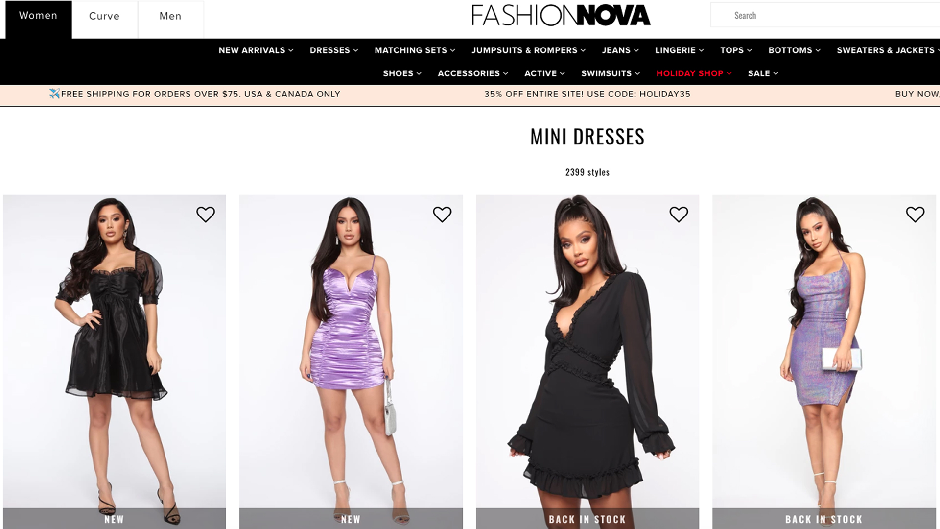 Mini dresses sold by Fashion Nova are displayed on the retailer's website on Dec. 19, 2019.
