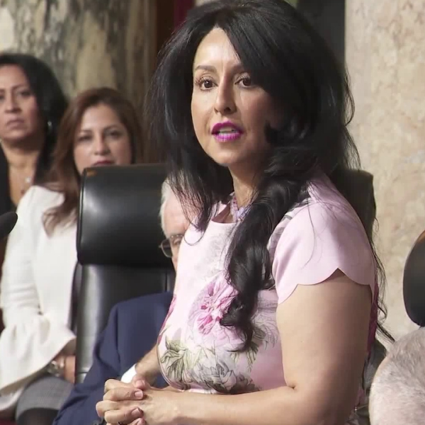 Councilwoman Nury Martinez speaks after being elected as the first Latina president of the Los Angeles City Council. (Credit: KTLA)