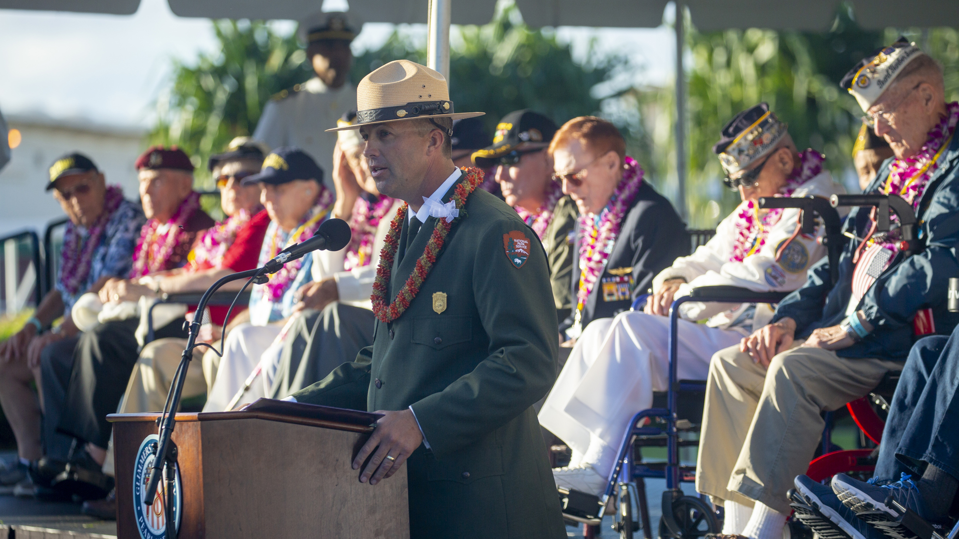 Master of Ceremonies, Chief of Interpretation Jason Blount Pearl Harbor National Memorial gives the Welcome as Pearl Harbor Commemorates the 78th Anniversary Of World War II Attacks as Pearl Harbor Commemorates the 78th Anniversary Of World War II Attacks at the Pearl Harbor National Memorial on December 7, 2019 in Honolulu, Hawaii. (Credit: Kat Wade/Getty Images)