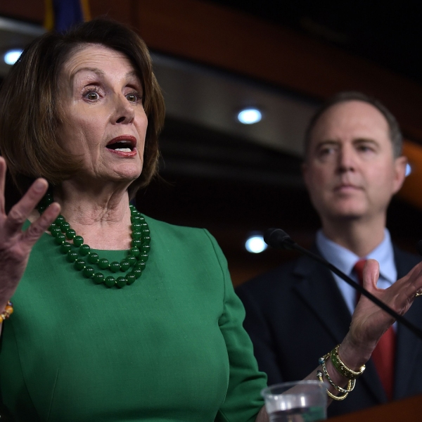 House Speaker Nancy Pelosi, left, speaks alongside Rep. Adam Schiff, chair of the House Intelligence Committee, at a Capitol Hill press conference on Oct. 15, 2019. (Credit: Eric Baradat / AFP / Getty Images)