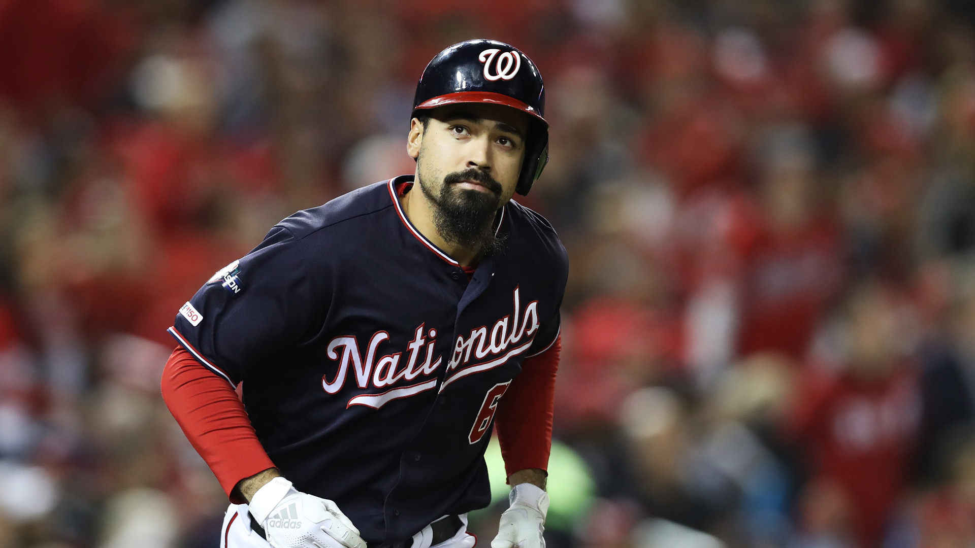 Anthony Rendon of the Washington Nationals reacts as he flies out in the seventh inning against the St. Louis Cardinals during game four of the National League Championship Series at Nationals Park on October 15, 2019 in Washington, DC. (Credit: Rob Carr/Getty Images)