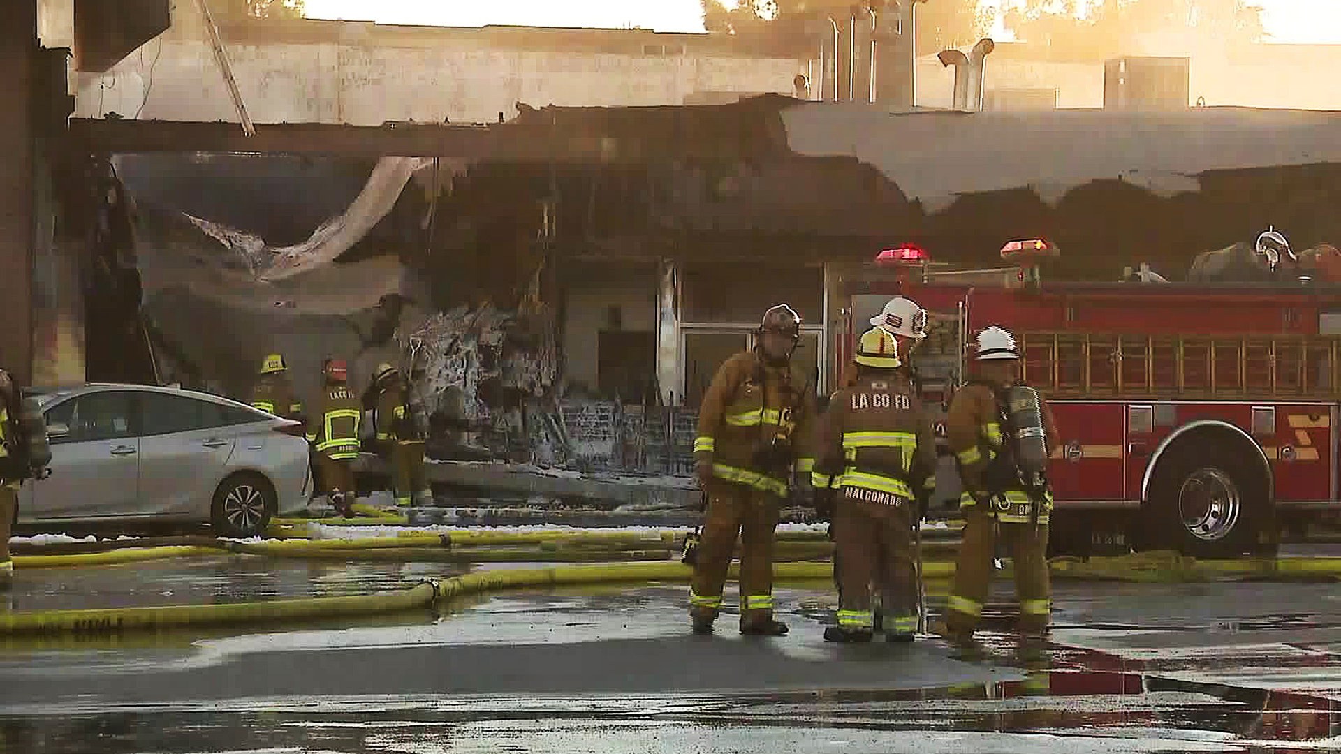 A fire badly damaged a dry-cleaning business in Rowland Heights on Dec. 20, 2019. (Credit: KTLA)