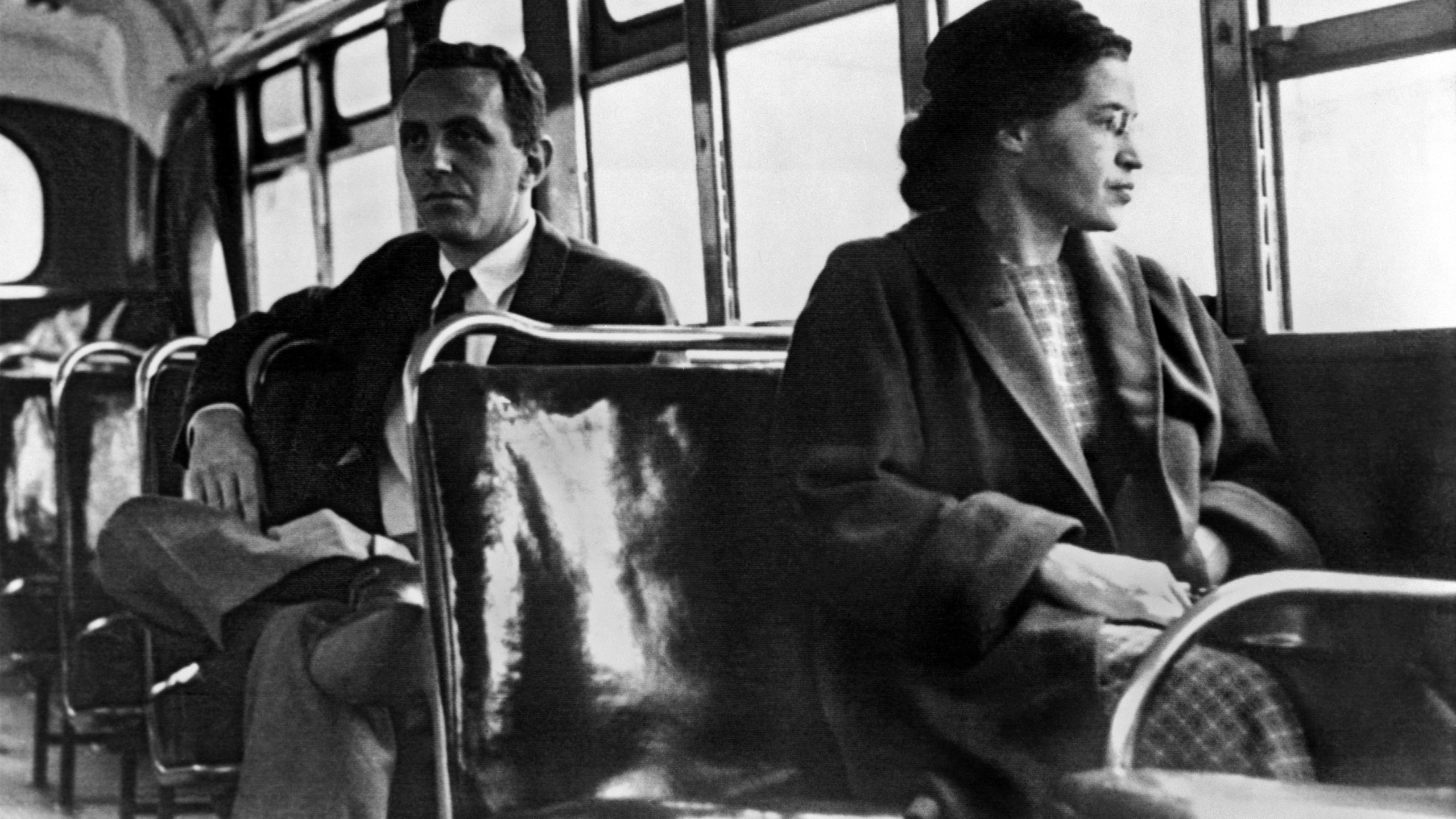 Rosa Parks seated toward the front of the bus, Montgomery, Ala., 1956.