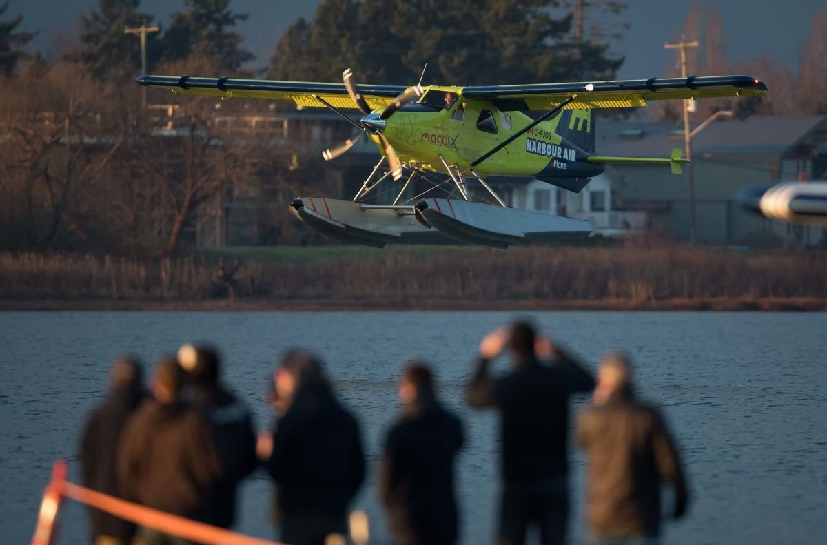 """A fully electric commercial plane has completed a test flight in Canada in what operators have called a """"world first"""" for the aviation industry. (Credit: Darryl Dyck/Bloomberg via Getty Images)"""