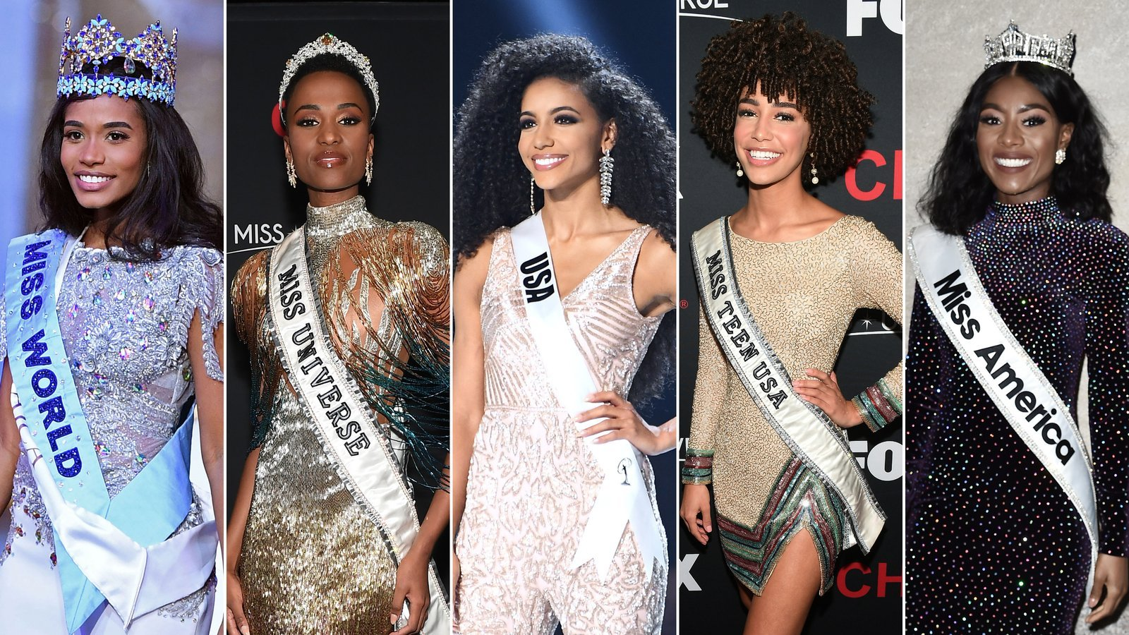 Miss Universe, Miss World, Miss America, Miss USA and Miss Teen USA are seen in Getty Images photos.