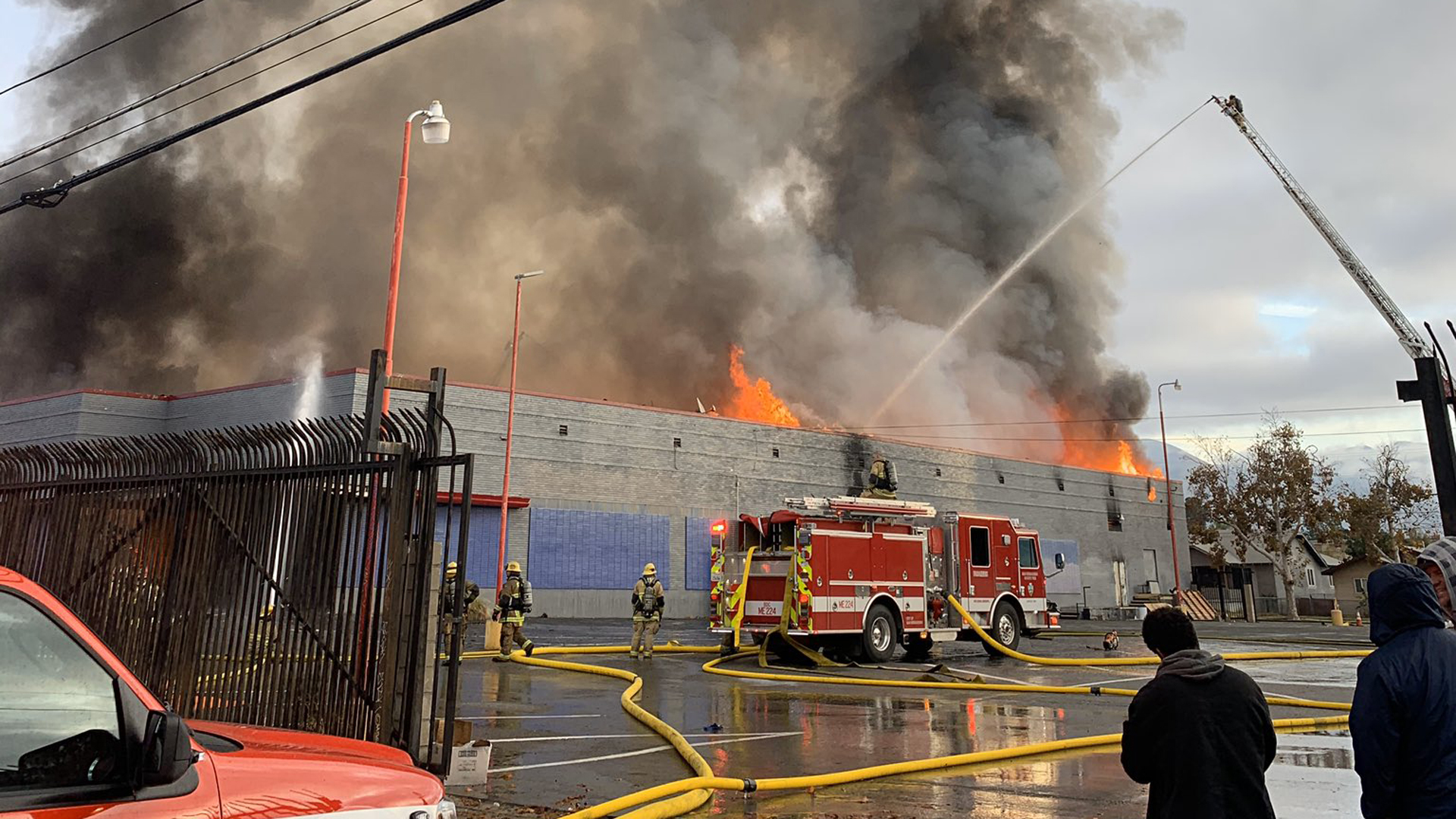 Firefighters battled a blaze aggressively burning at a vacant commercial structure in San Bernardino on Dec. 5, 2019. (Credit: San Bernardino County fire Chief Dan Munsey)