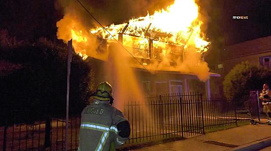 San Bernardino County firefighters respond to a blaze on Dec. 8, 2019. (Credit: RMG News)