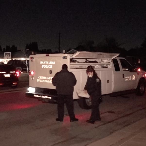Santa Ana police investigate a melee on Dec. 9, 2019. (Credit: Onscene.tv)