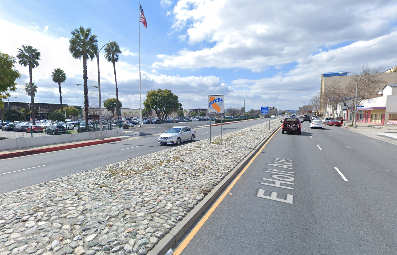 A Google Maps image shows Holt Avenue near St. Paul Street in Pomona.
